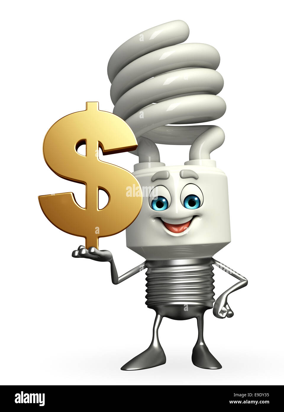 Cartoon Character of CFL with dollar sign Stock Photo