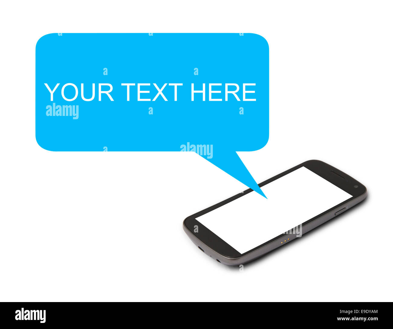Mobile phone with speech bubble - Stock Image