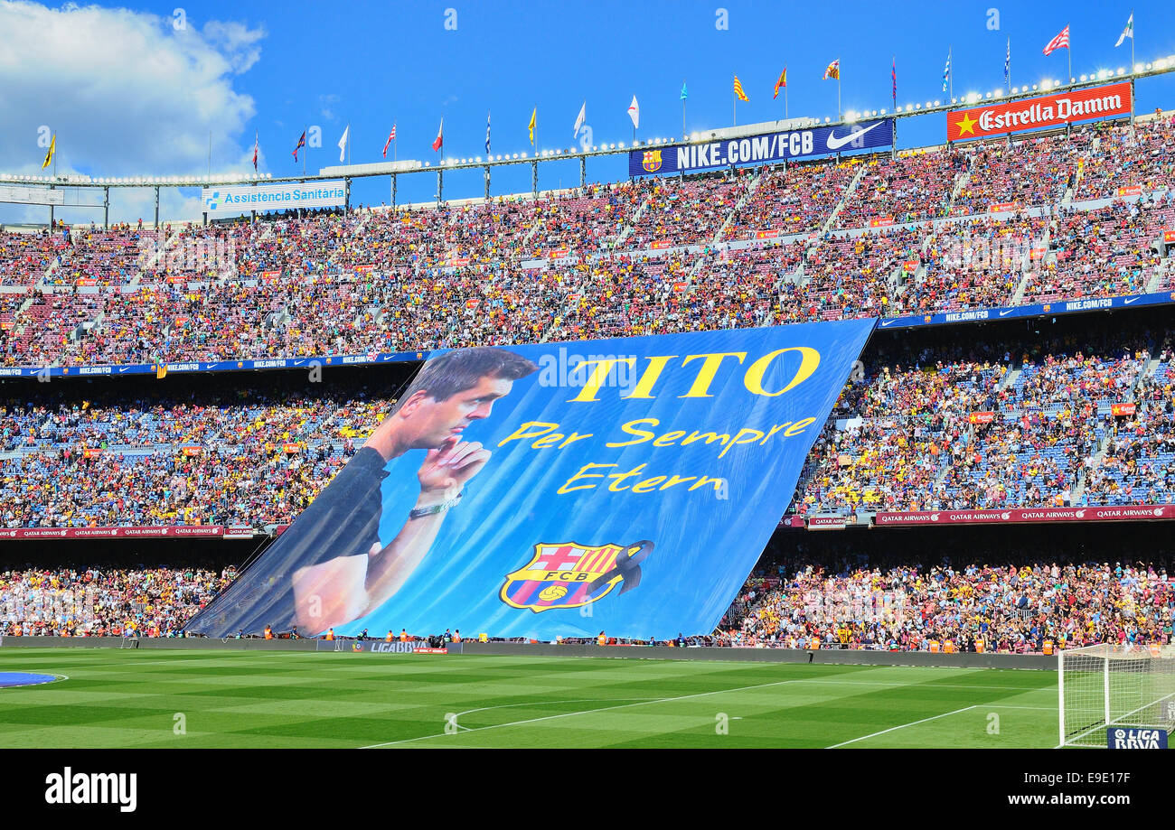 BARCELONA - MAY 03: FC Barcelona fans display a huge banner in memory of former head coach Tito Vilanova, who died - Stock Image
