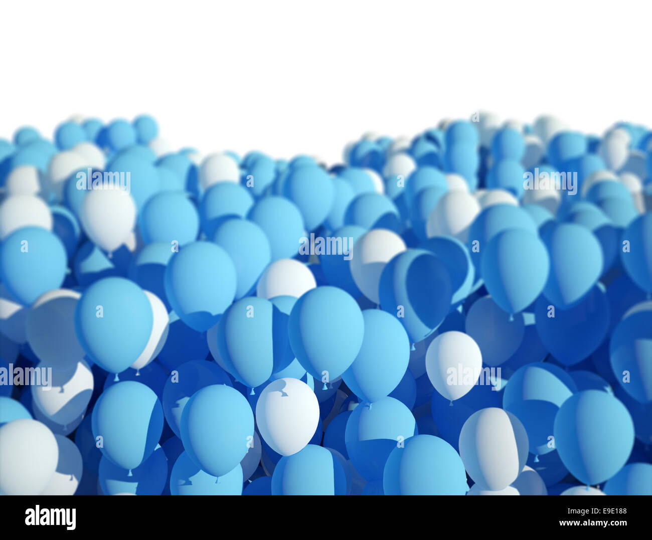 blue and white party balloons design background stock photo