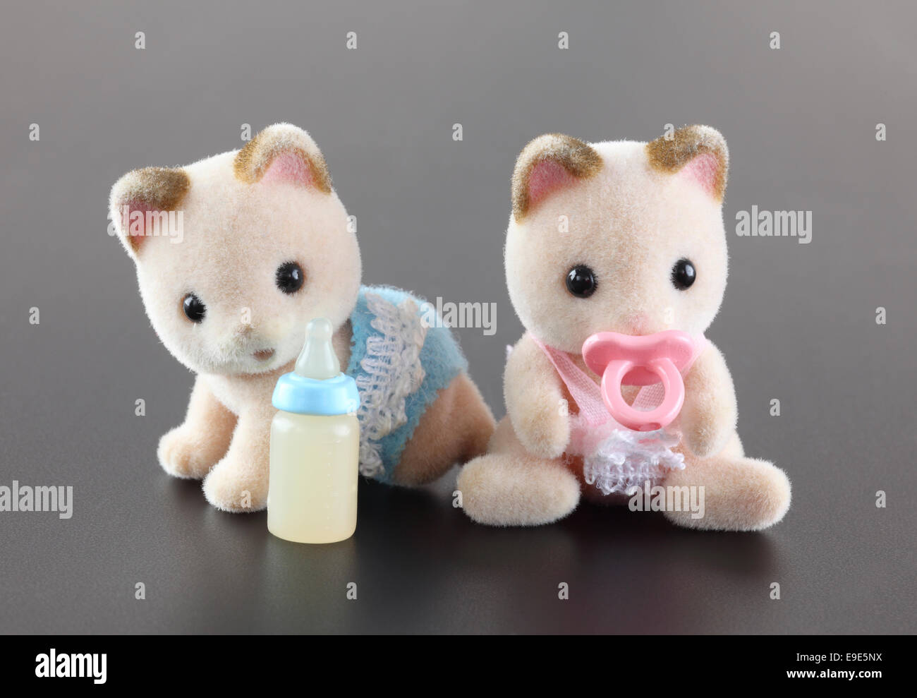 Tambov, Russian Federation - October 04, 2013 Sylvanian family kittens toy figures on gray background. Studio shot. - Stock Image