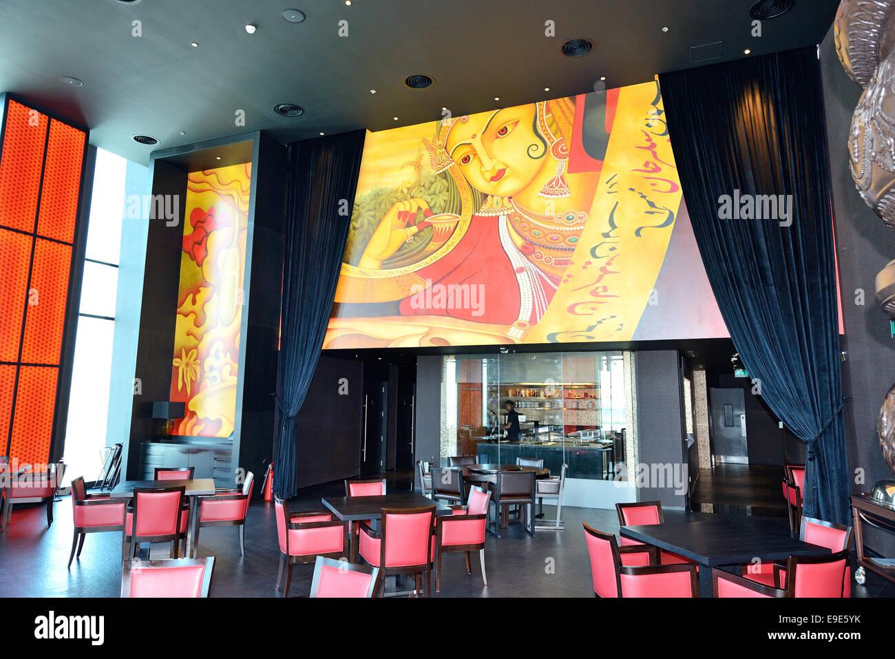The restaurant\'s interior of JW Marriott Marquis Dubai hotel, UAE ...