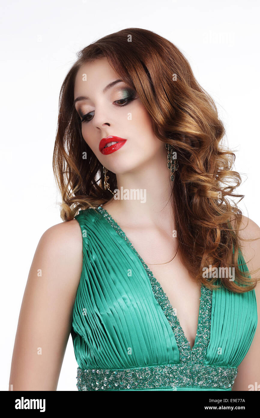 Stylish Gorgeous Lady with Jewels Looking Down - Stock Image