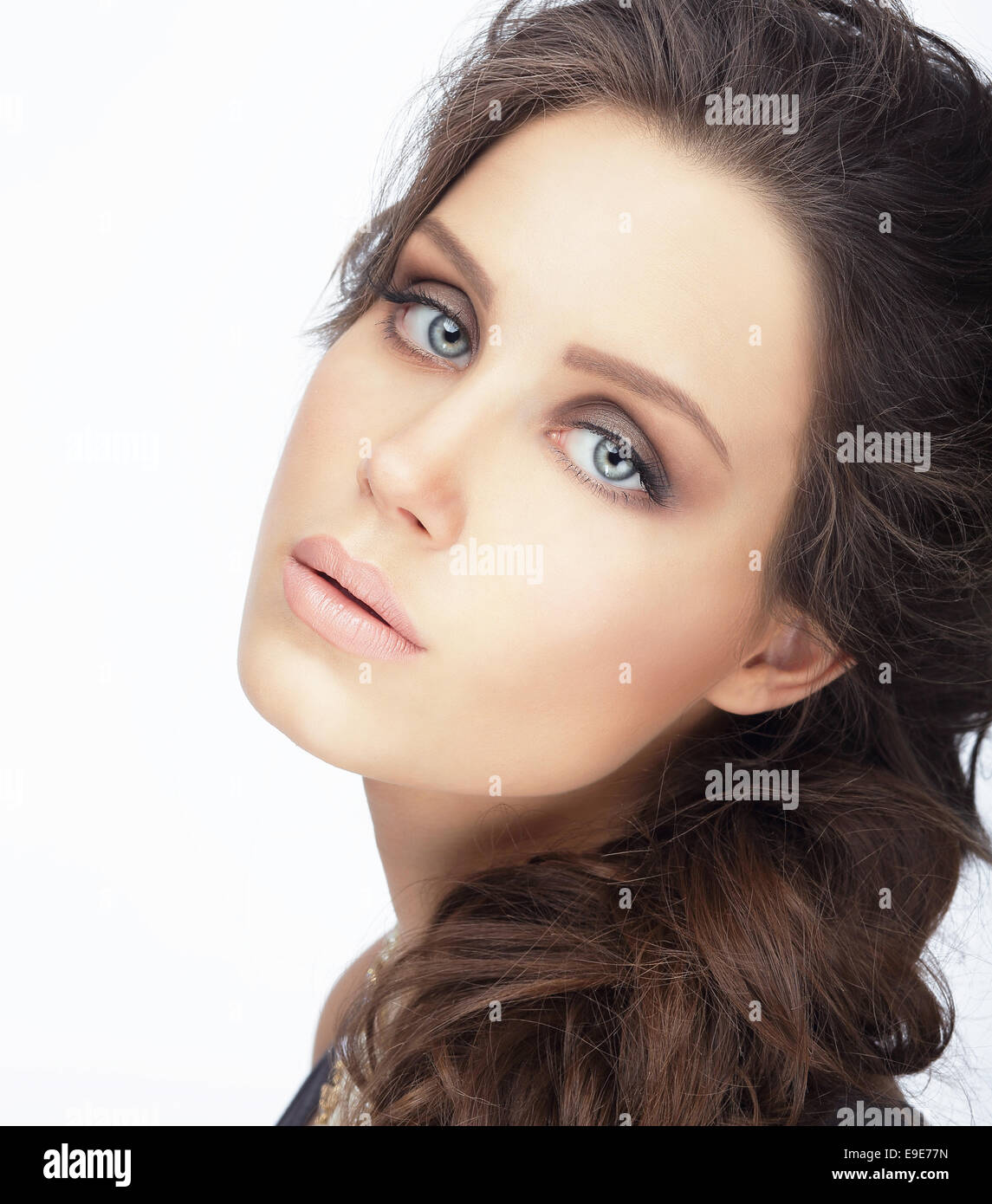 Complexion. Natural Brunette with Clean Skin - Stock Image