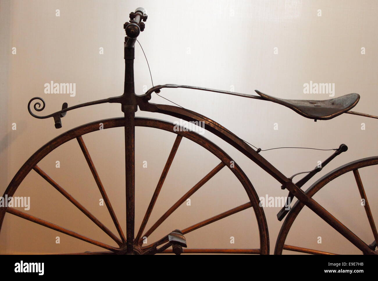 Detailed view of an old times bicycle - Stock Image