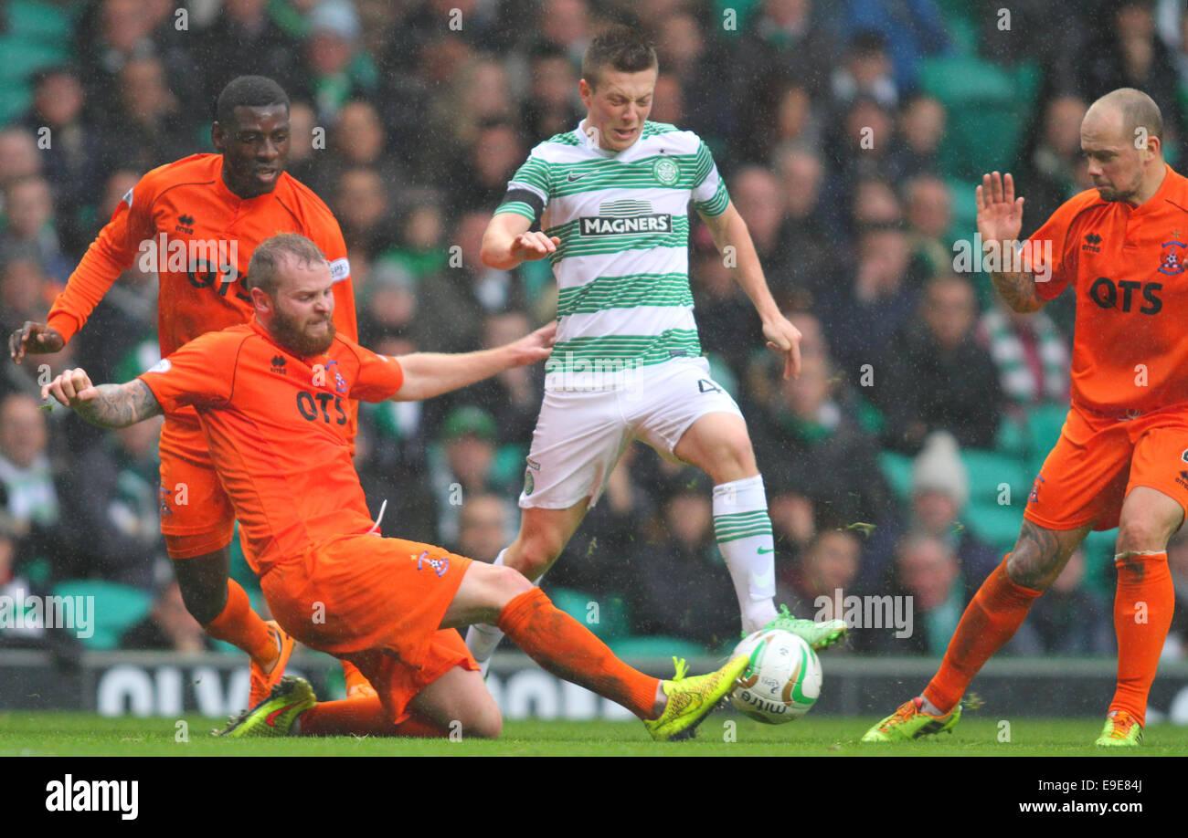 Glasgow, Scotland. 26th Oct, 2014. Scottish Premier League. Celtic versus Kilmarnock. Callum McGregor avoids a challenge - Stock Image