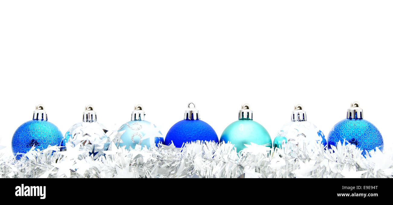 Blue Christmas Bauble Border With Garland Over A White Background