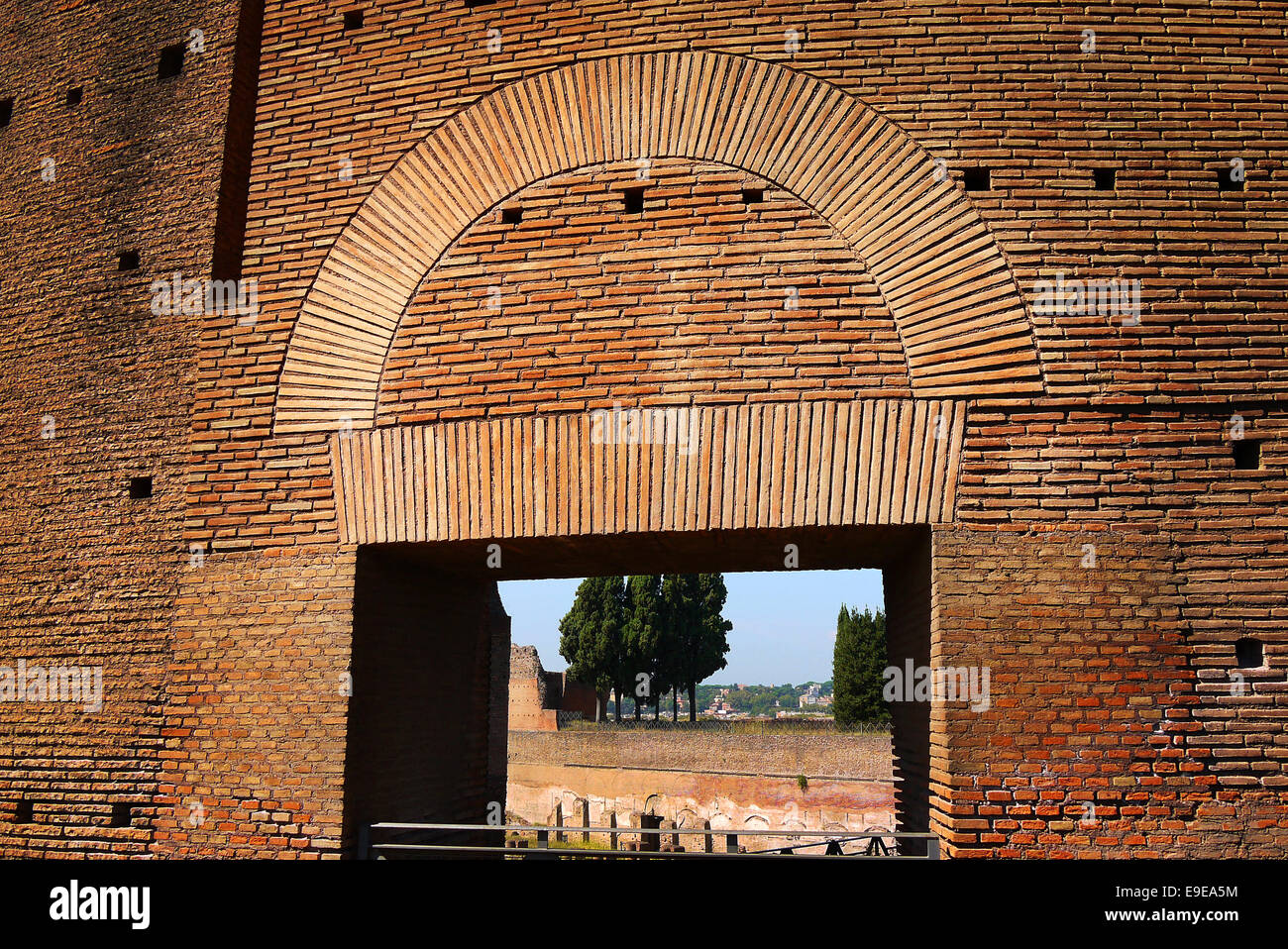 Palantine Hill, Rome, Italy. Brickwork detail at the Imperial Palace. - Stock Image
