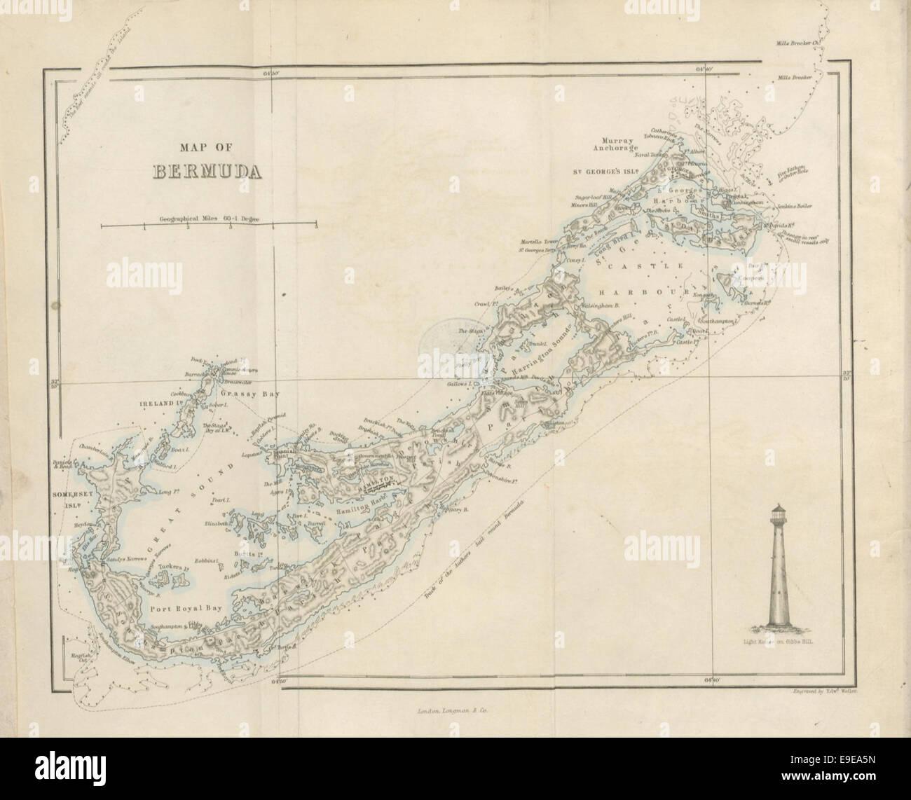 Vintage Map Of Bermuda Stock Photos & Vintage Map Of Bermuda Stock ...