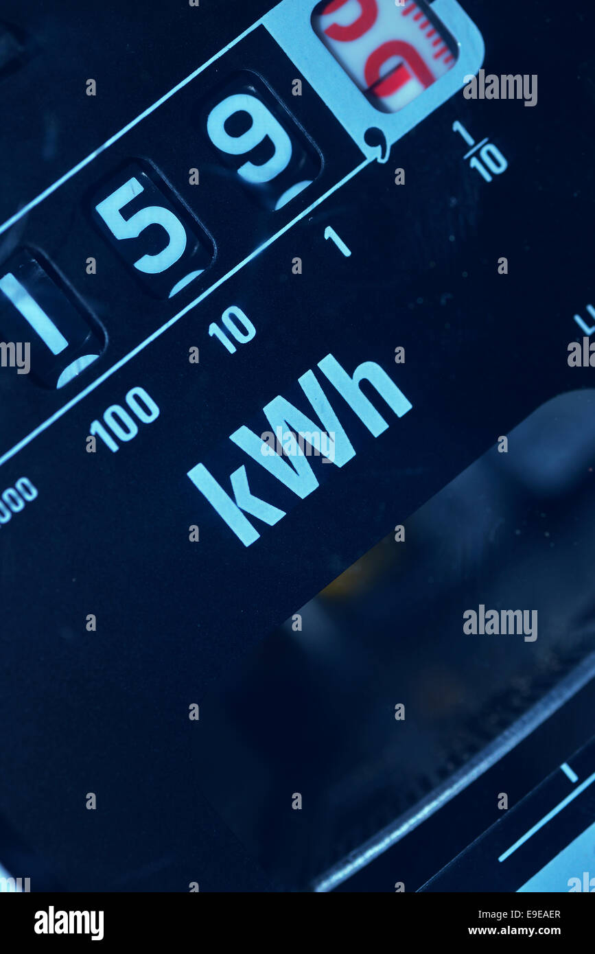 electricity meter showing reading in kWh - Stock Image
