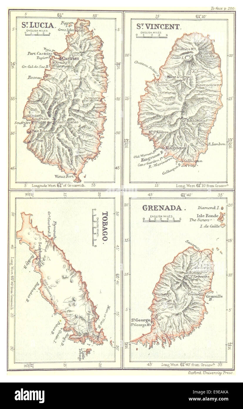 Map of St.Lucia, St. Vincent, Tobago and Grenada (1888 Stock Photo ...