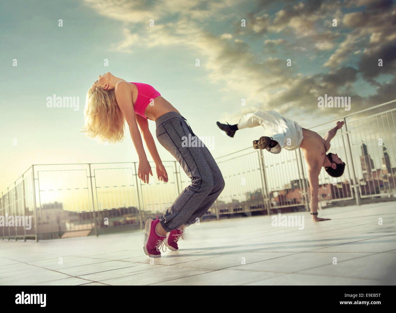 Athletic couple in the middle of their training - Stock Image