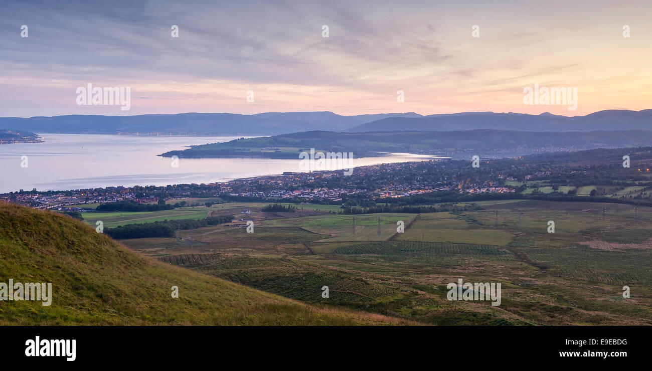 Panorama image of the sunset over the Clyde - Stock Image