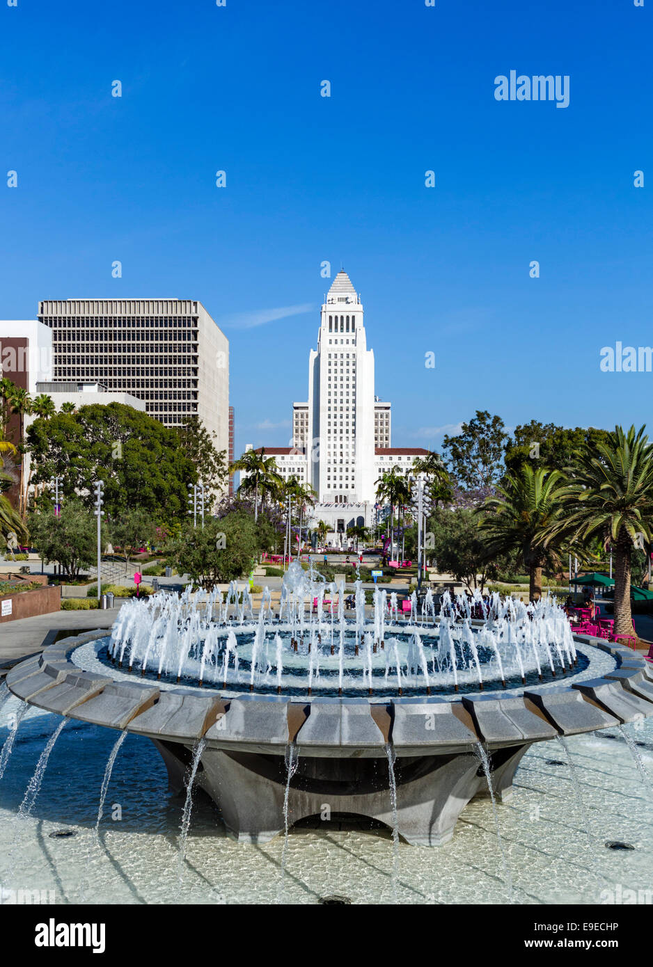 City Hall viewed from Grand Park in downtown Los Angeles, California, USA - Stock Image
