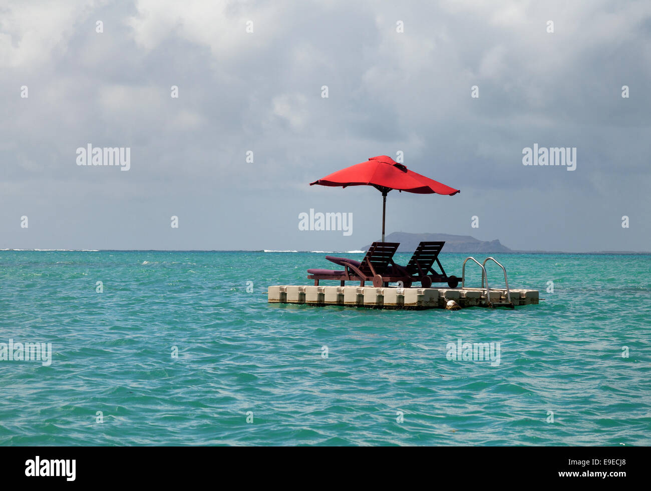 Two floating sunbeds, north Mauritius - Stock Image