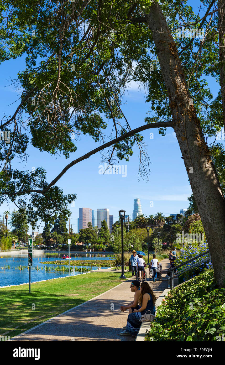 Echo Park with the downtown city skyline in the distance, Los Angeles, California, USA Stock Photo