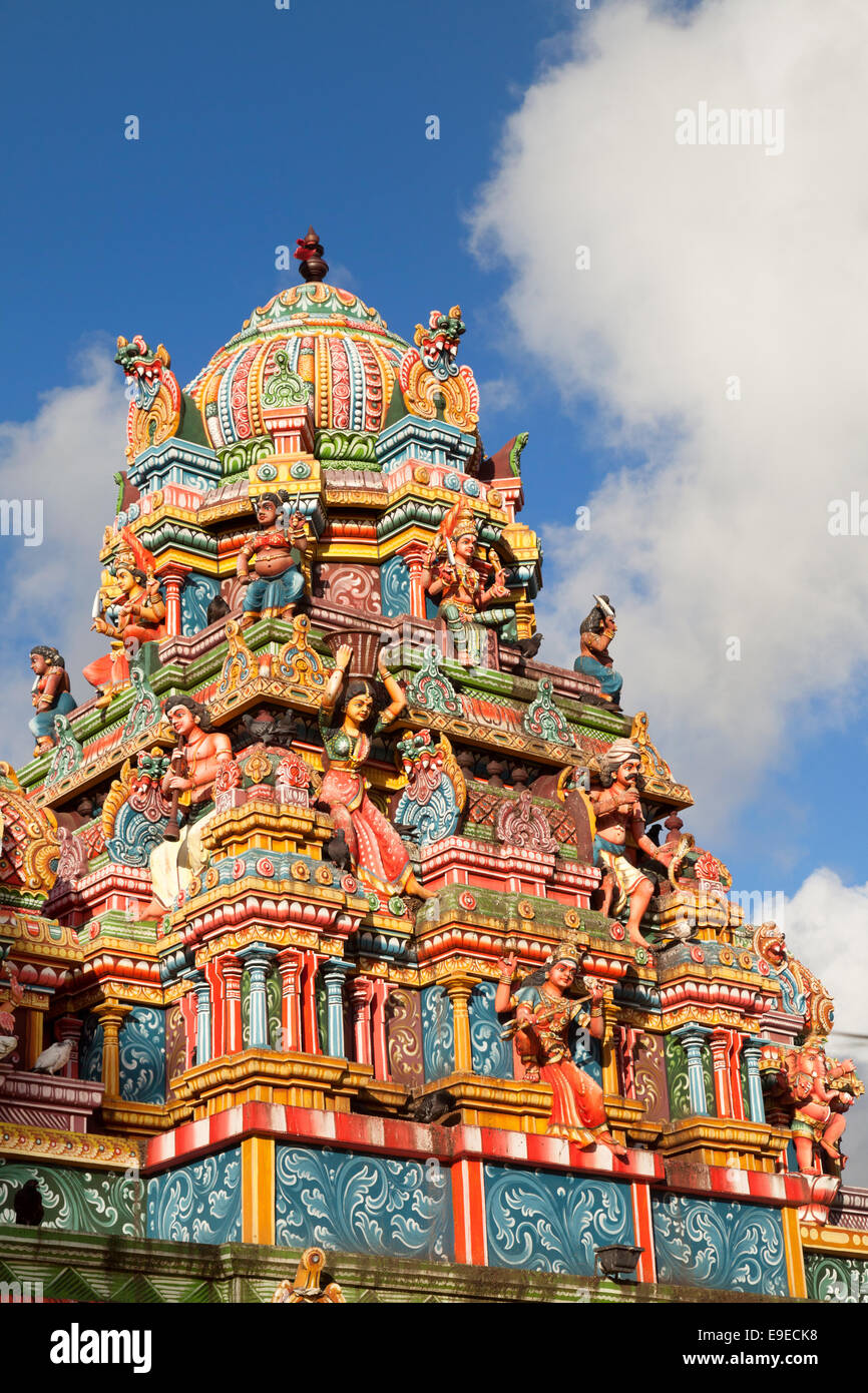 Colourful roof of a Hindu Temple, Mauritius - Stock Image