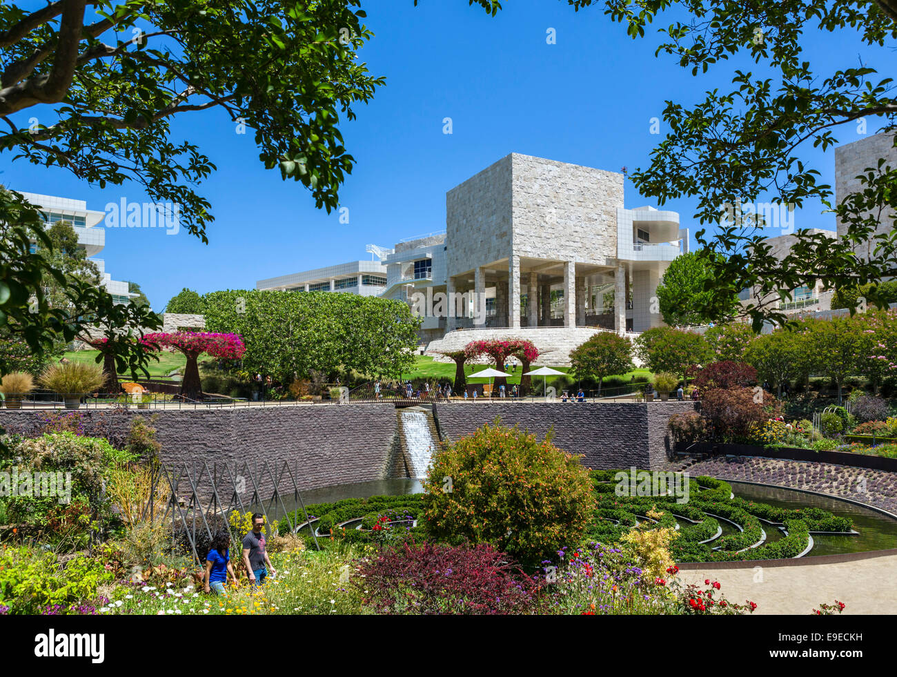 The Getty Center museum complex on a hilltop overlooking the city of Los Angeles, Brentwood, Los Angeles, California, - Stock Image