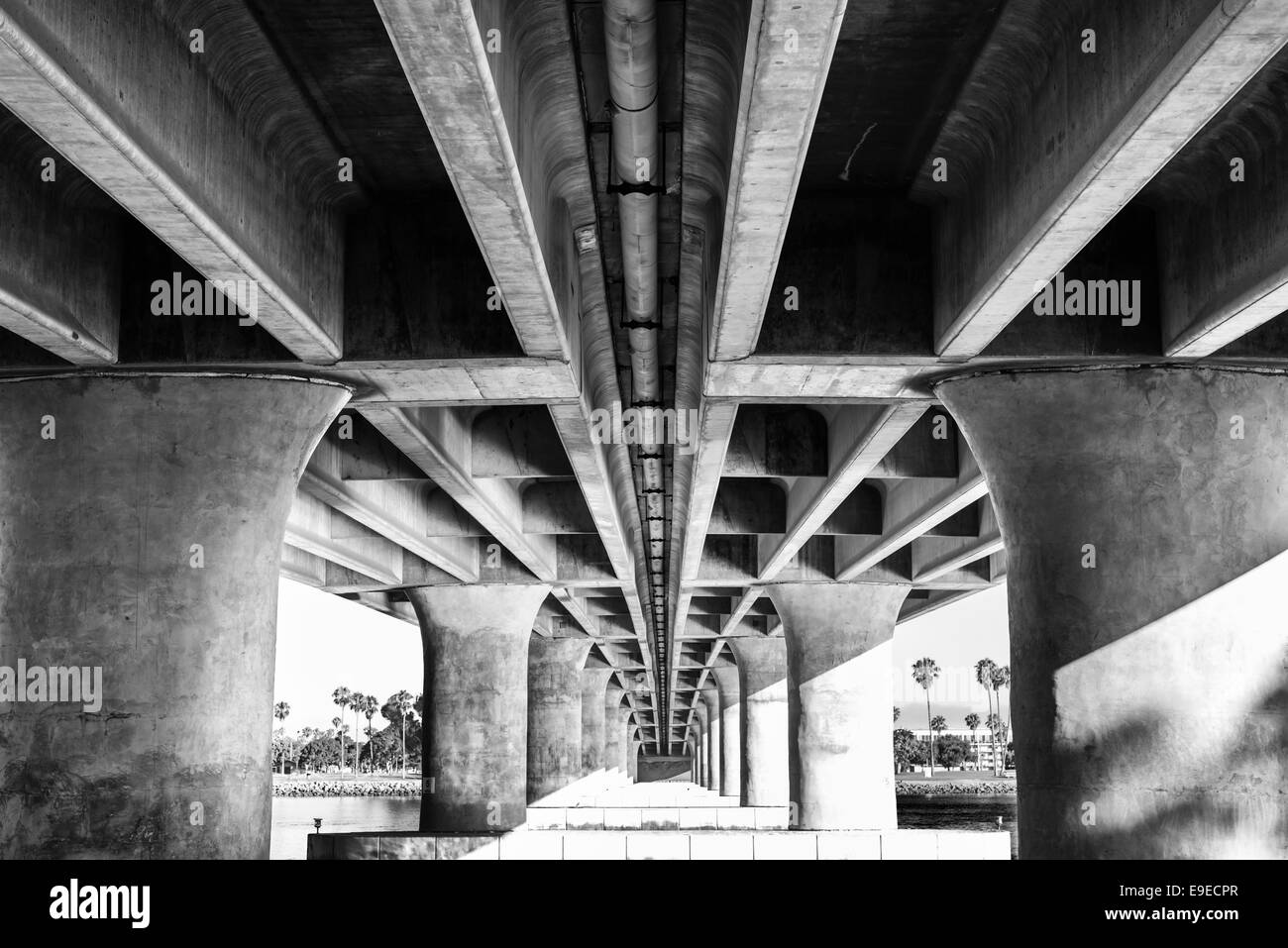 View of the underside of the  West Mission Bay Dr Bridge. Concrete columns in black and white. San Diego, California. - Stock Image