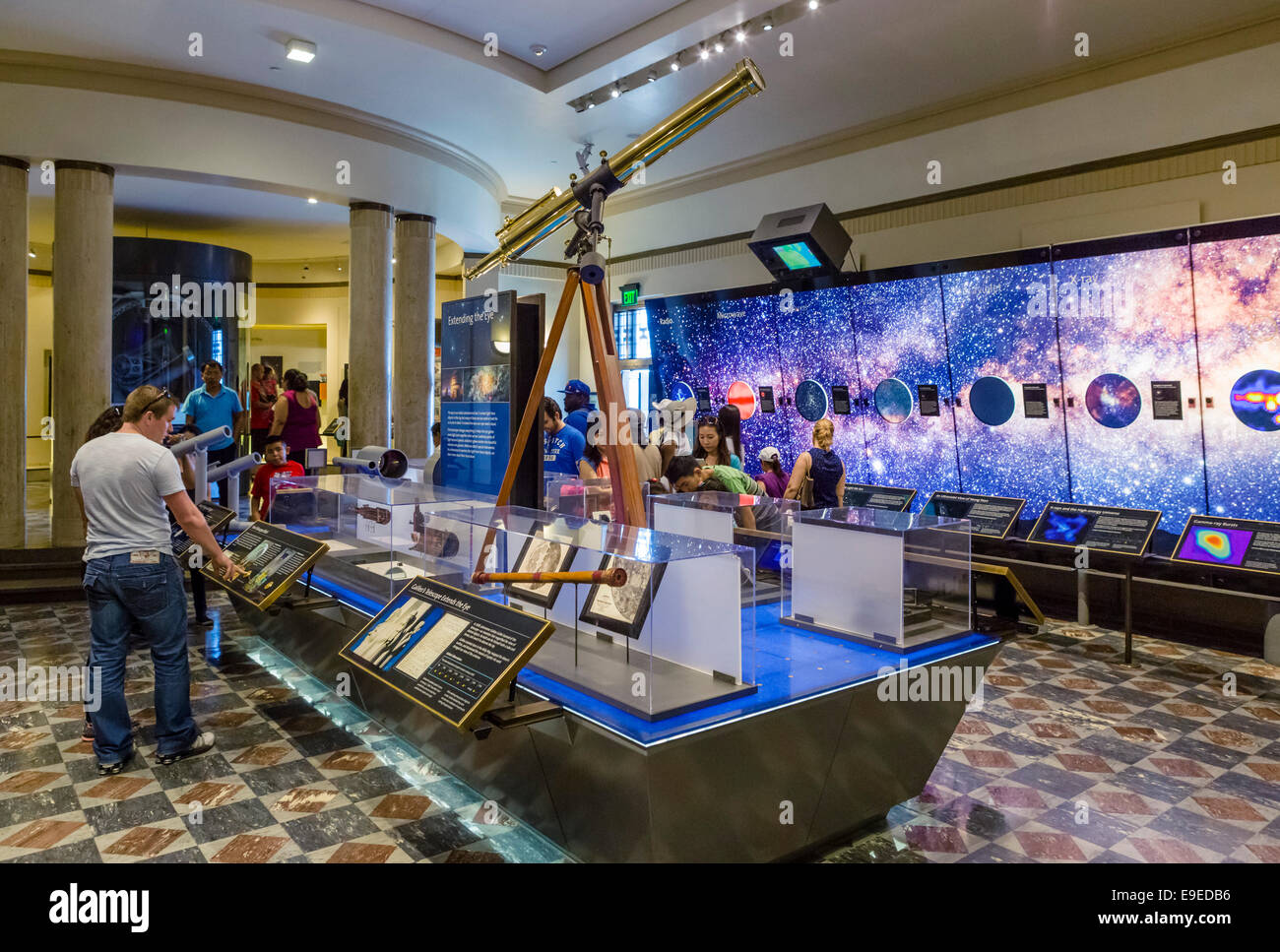Exhibits inside the Griffith Observatory, Griffith Park, Los Angeles, California, USA - Stock Image