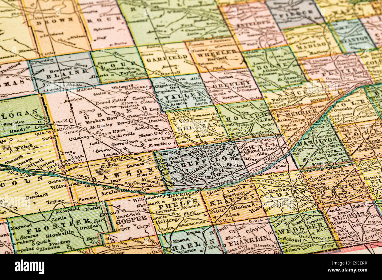 Nebraska Map Vintage Stock Photos & Nebraska Map Vintage Stock ...