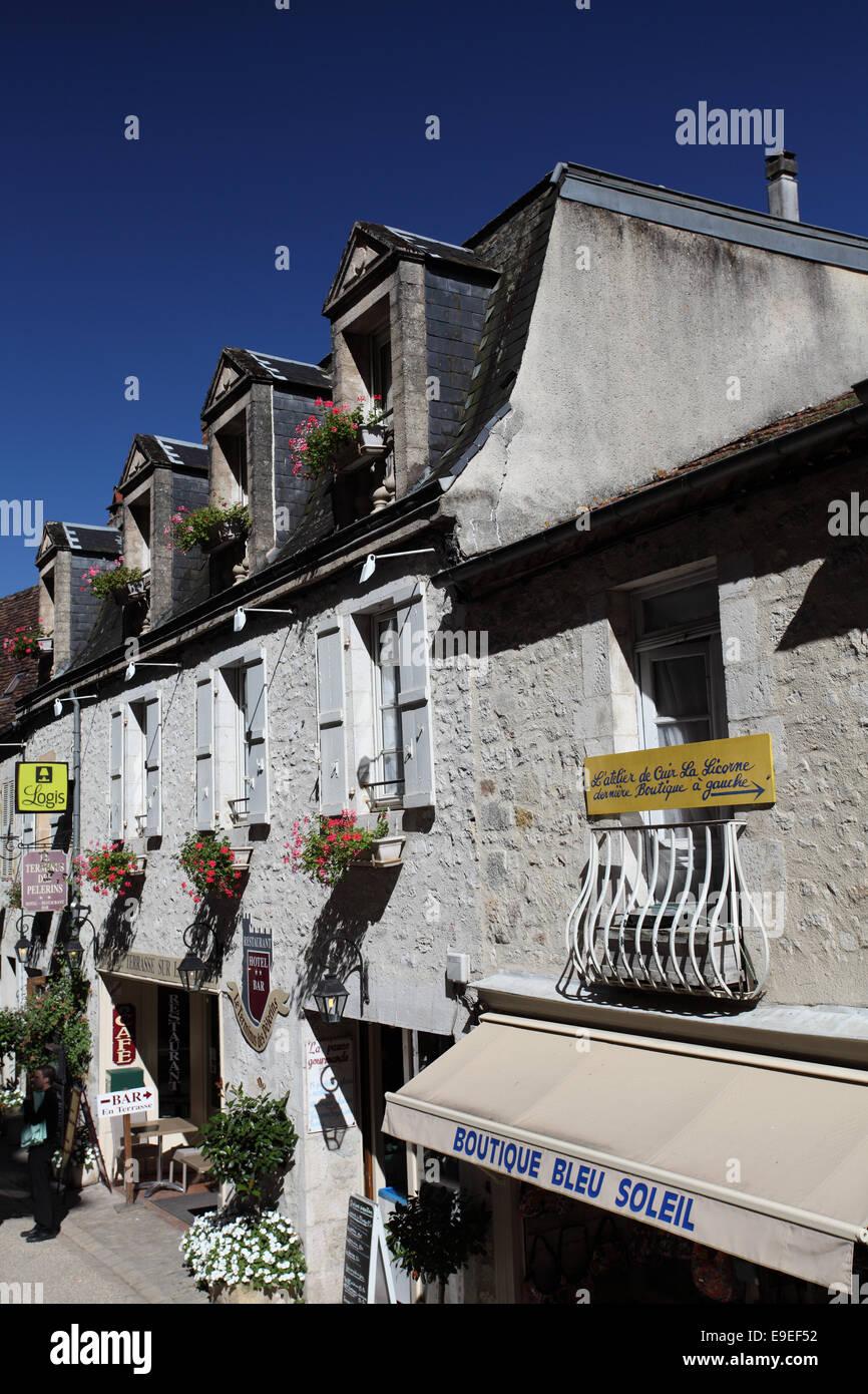 Hotel Le Terminus des Pelerins in Rocamadour, France - Stock Image