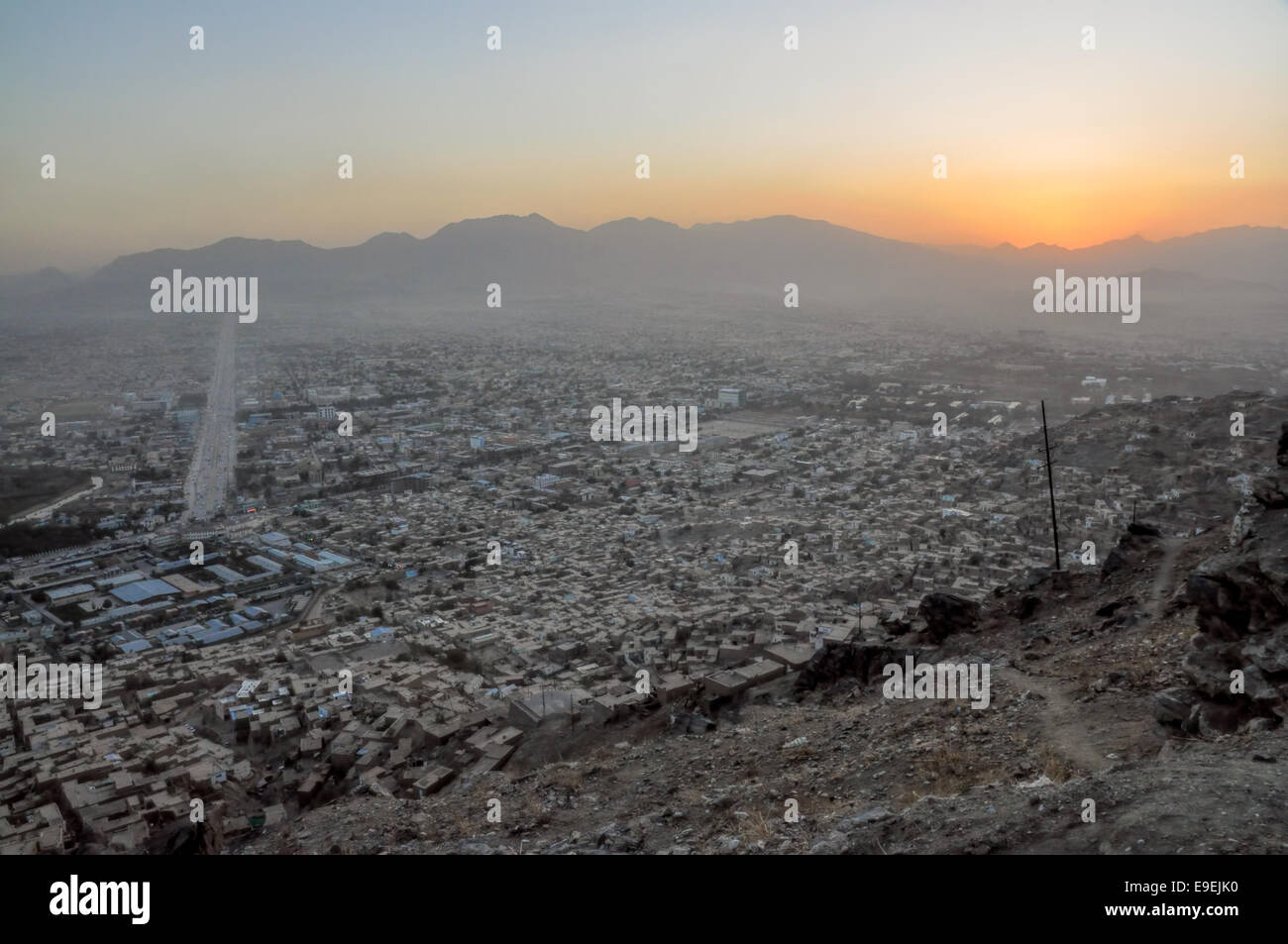 Evening view of Kabul in Afghanistan with sunset - Stock Image
