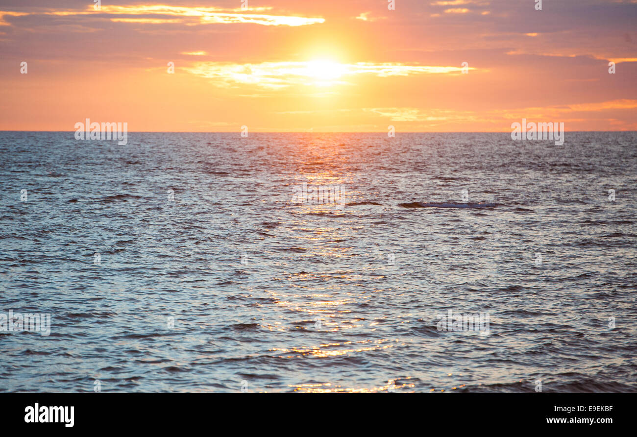 sunset over cardigan bay, aberystwyth - Stock Image