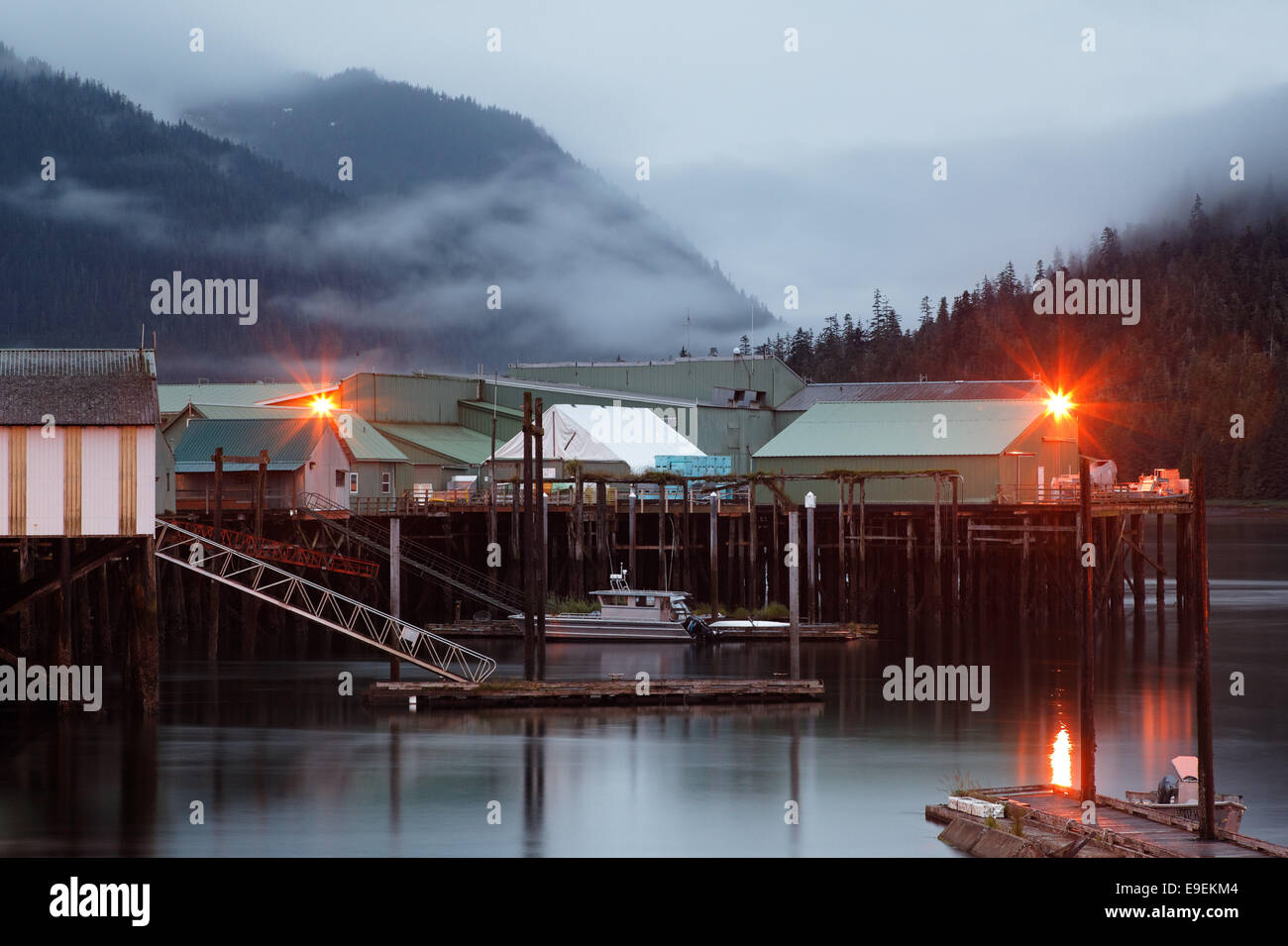 Wharfs and Ocean Beauty Seafoods Cannery, North Harbor, Petersburg, Alaska, USA - Stock Image