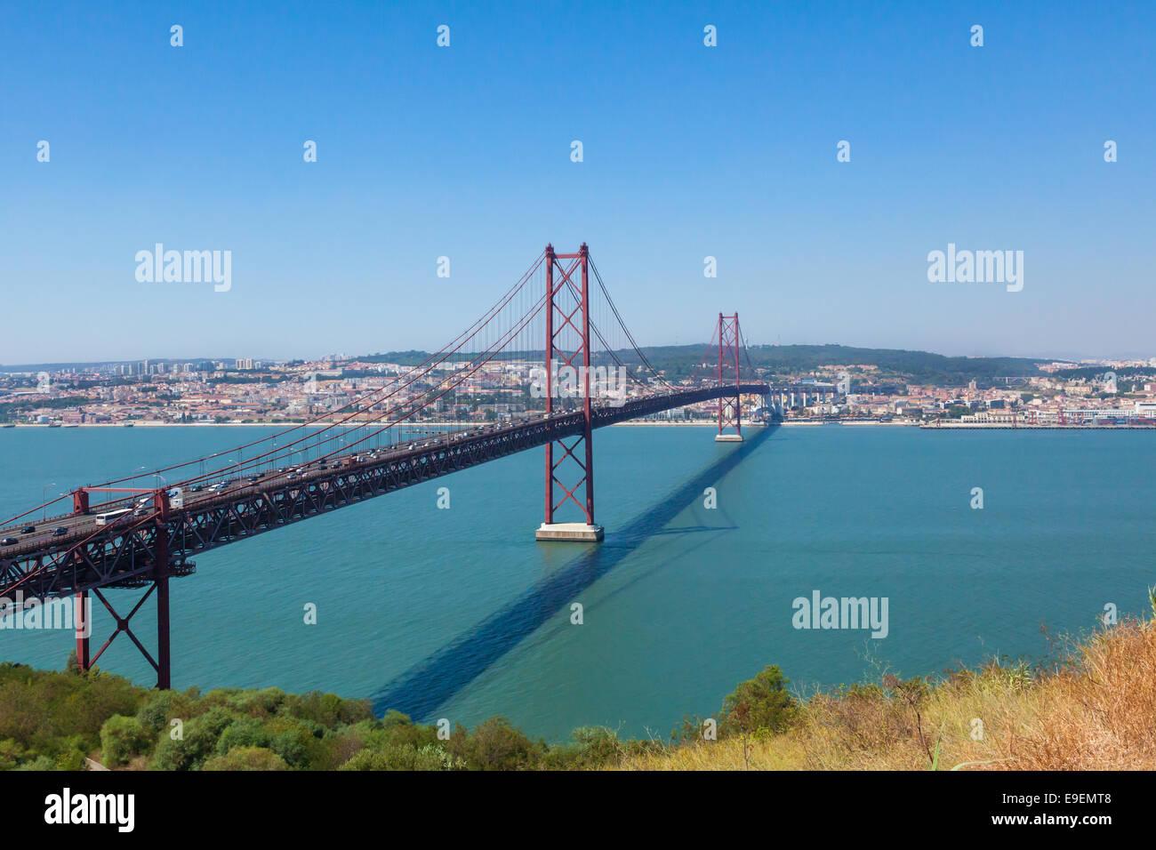 25th April Bridge in Lisbon, Ponto  25 de abril em Lisboa . Portugal - Stock Image