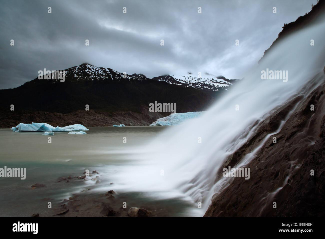 Nugget Falls plunges into Mendenhall Lake, Juneau, Alaska, USA Stock Photo