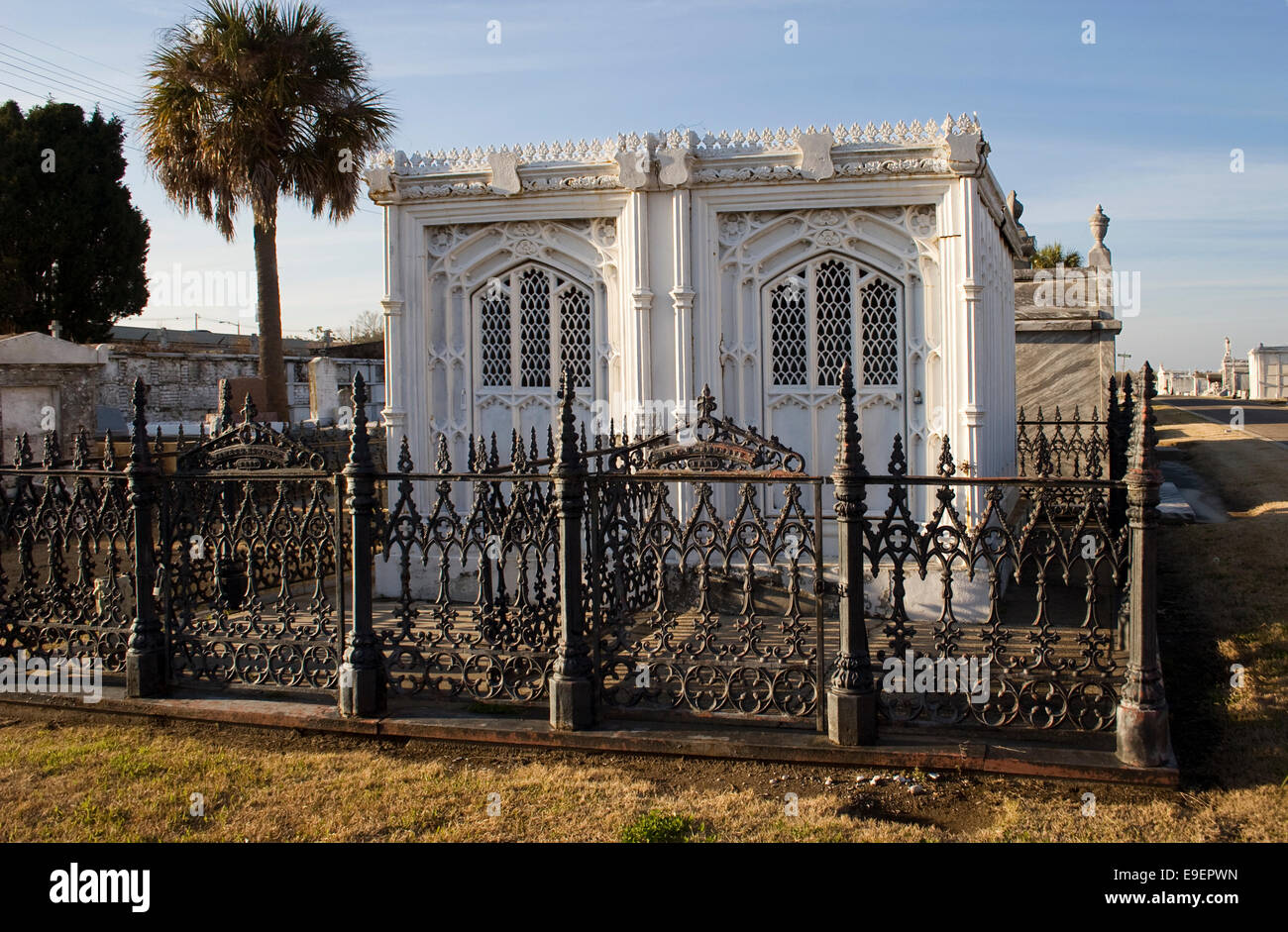 Cast iron tomb in Greenwood Cemetery, New Orleans, LA, USA ...