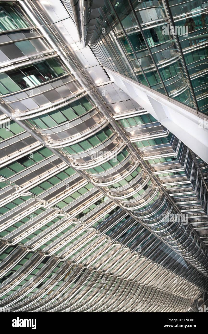 Petronas Towers Kuala Lumpur view from the Skybridge Viewing Deck looking down. Menara Berkembar Petronas KL Malaysia. - Stock Image