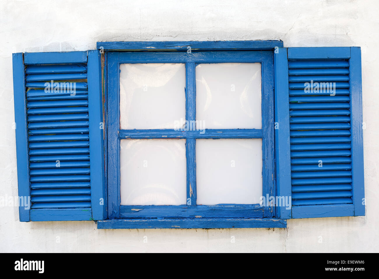 Classic Wooden Window On The White Wall With Weathered