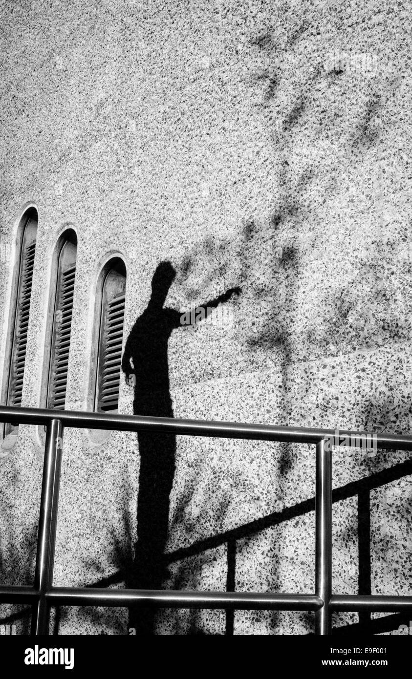 shadow of parkour traceur - Stock Image