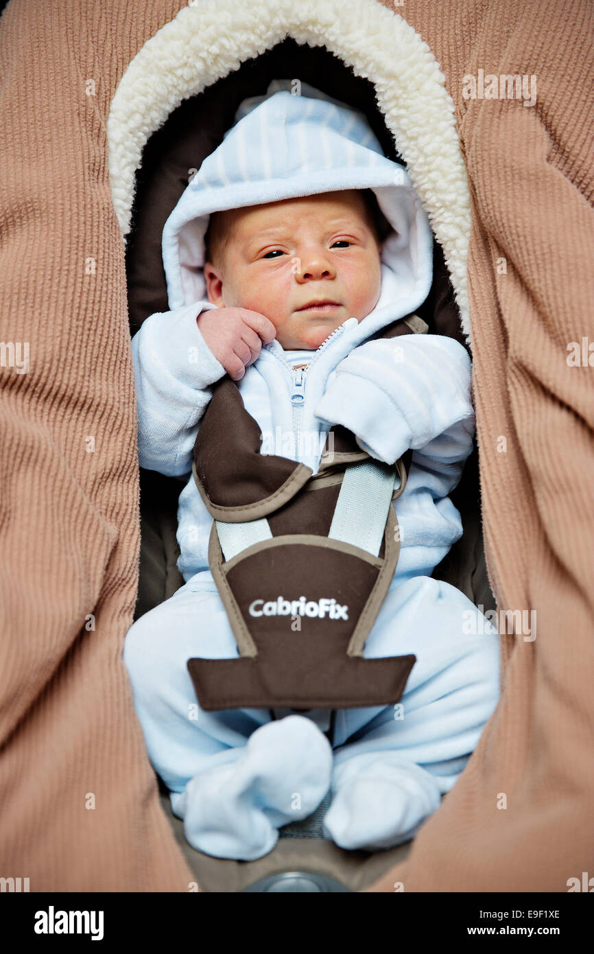 The three days old newborn baby poses in car seat in Prague, Czech Republic, on Thursday, October 23, 2014. (CTK - Stock Image