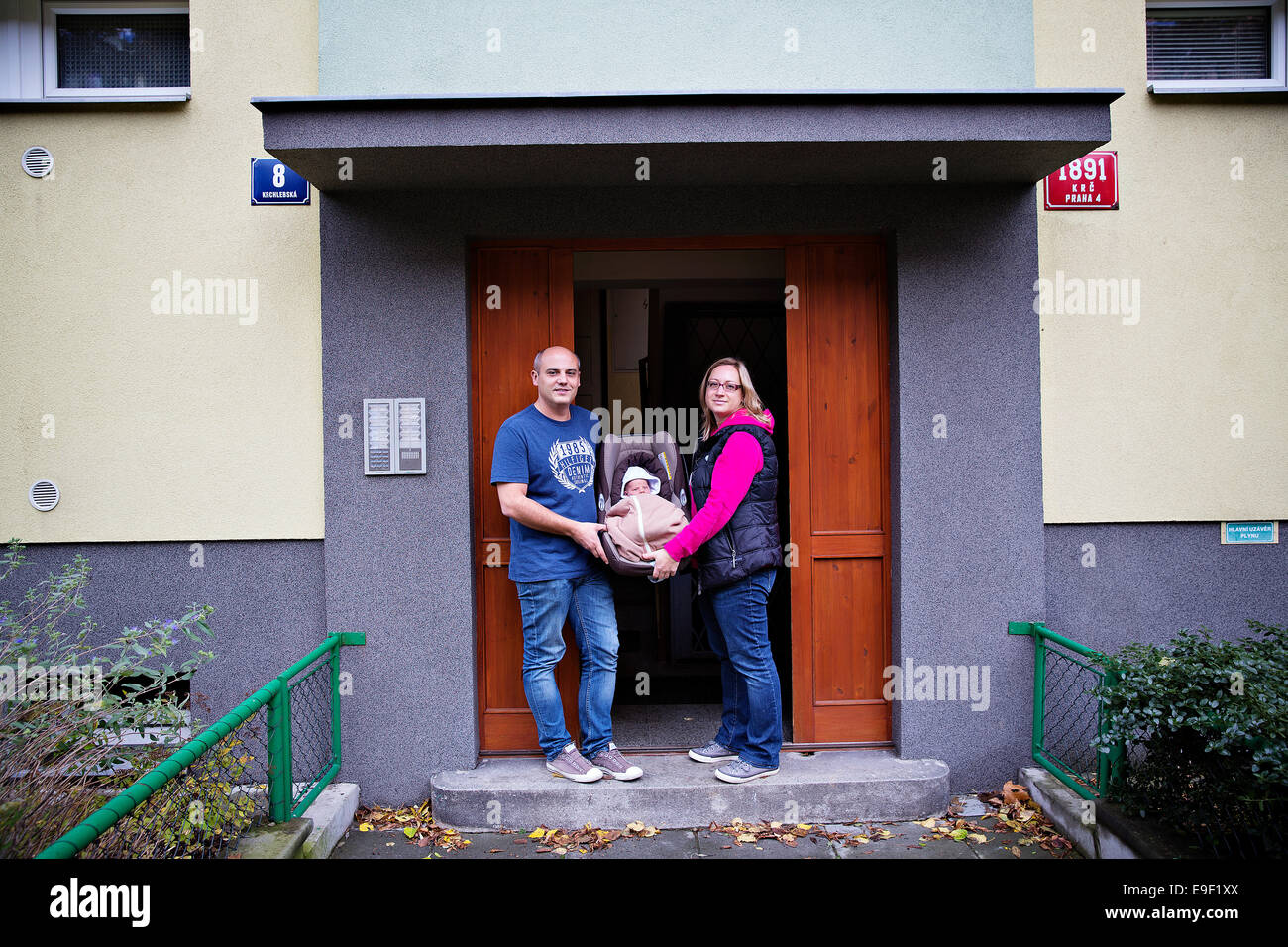 The parents pose with their newborn baby, Prague, Czech Republic, on Thursday, October 23, 2014. (CTK Photo/Martin - Stock Image