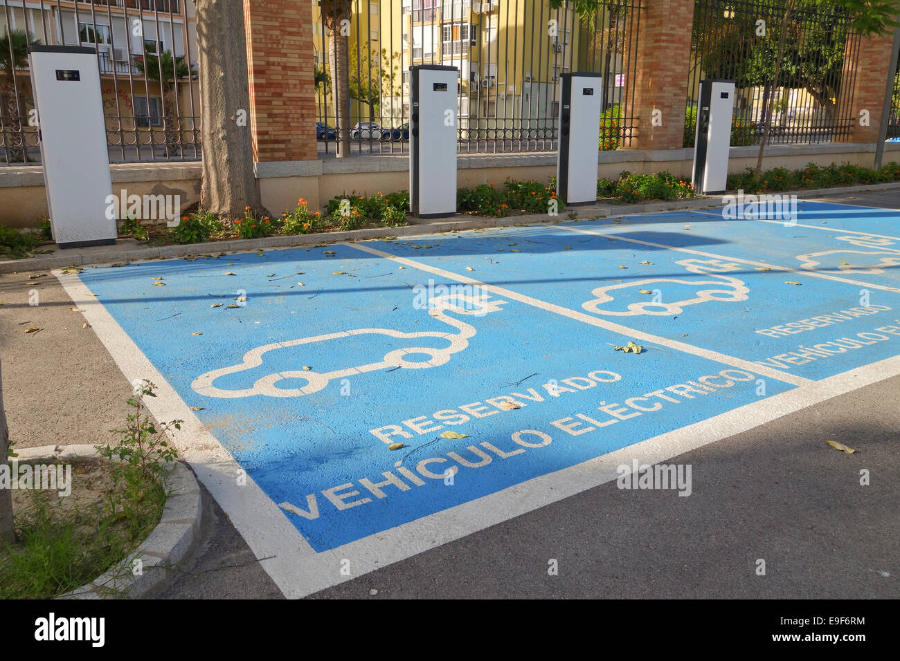 Electric car charging station in Malaga, Southern Spain. Stock Photo