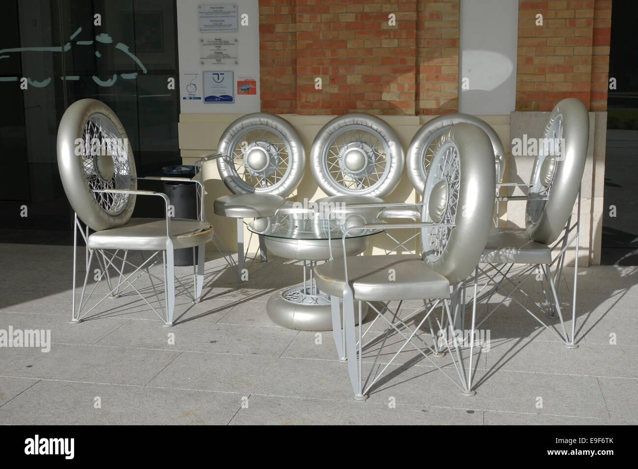 Terrace made out of wheels at Car, Automobile Museum of Málaga, Andalusia, Spain. - Stock Image