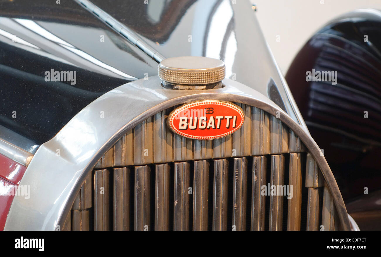 Bugatti Classic Car Emblem 1936 Bugatti, 6 cylinder, 3 litre, Type 57. at Car, Automobile Museum of Málaga, - Stock Image