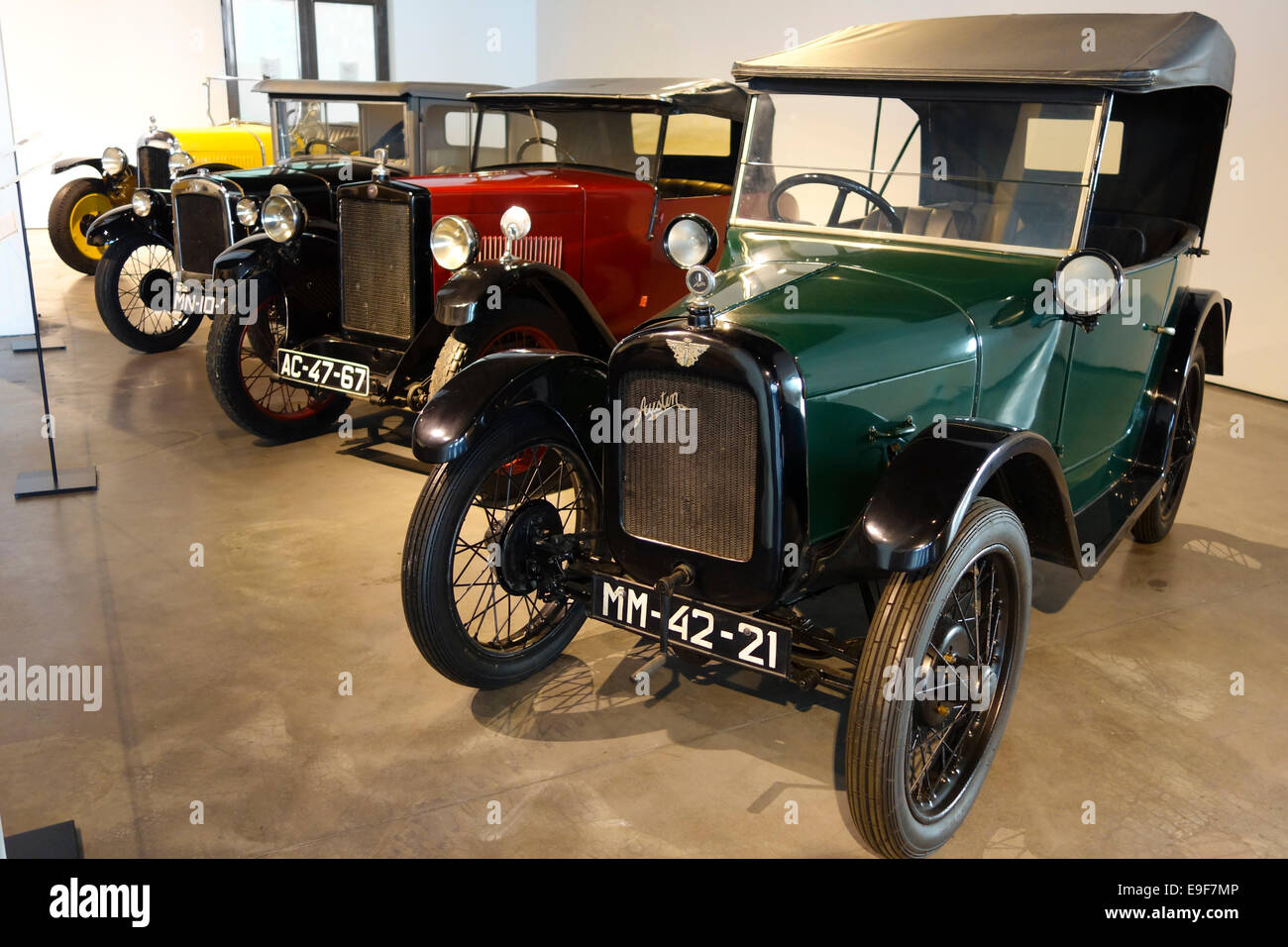 1930 Austin Seven and a 1929 Morris Minor 1930 at Car, Automobile Museum of Málaga, Andalusia, Spain. - Stock Image