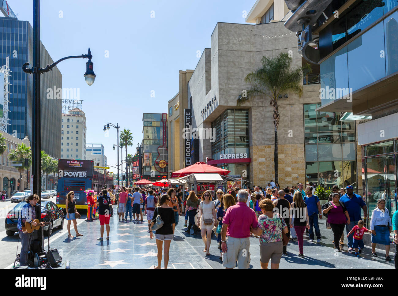 View down Hollywood Boulevard outside the Hollywood and Highland Center, Hollywood, Los Angeles, California, USA - Stock Image