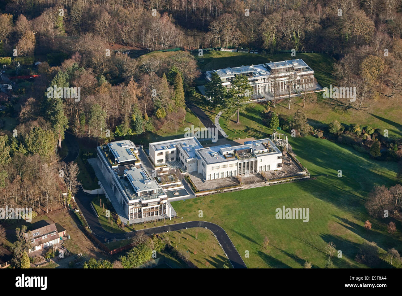 aerial view of the luxury Charters apartments, Sunninghill, Ascot, Berkshire, UK, home to Sir Cliff Richard amongst - Stock Image