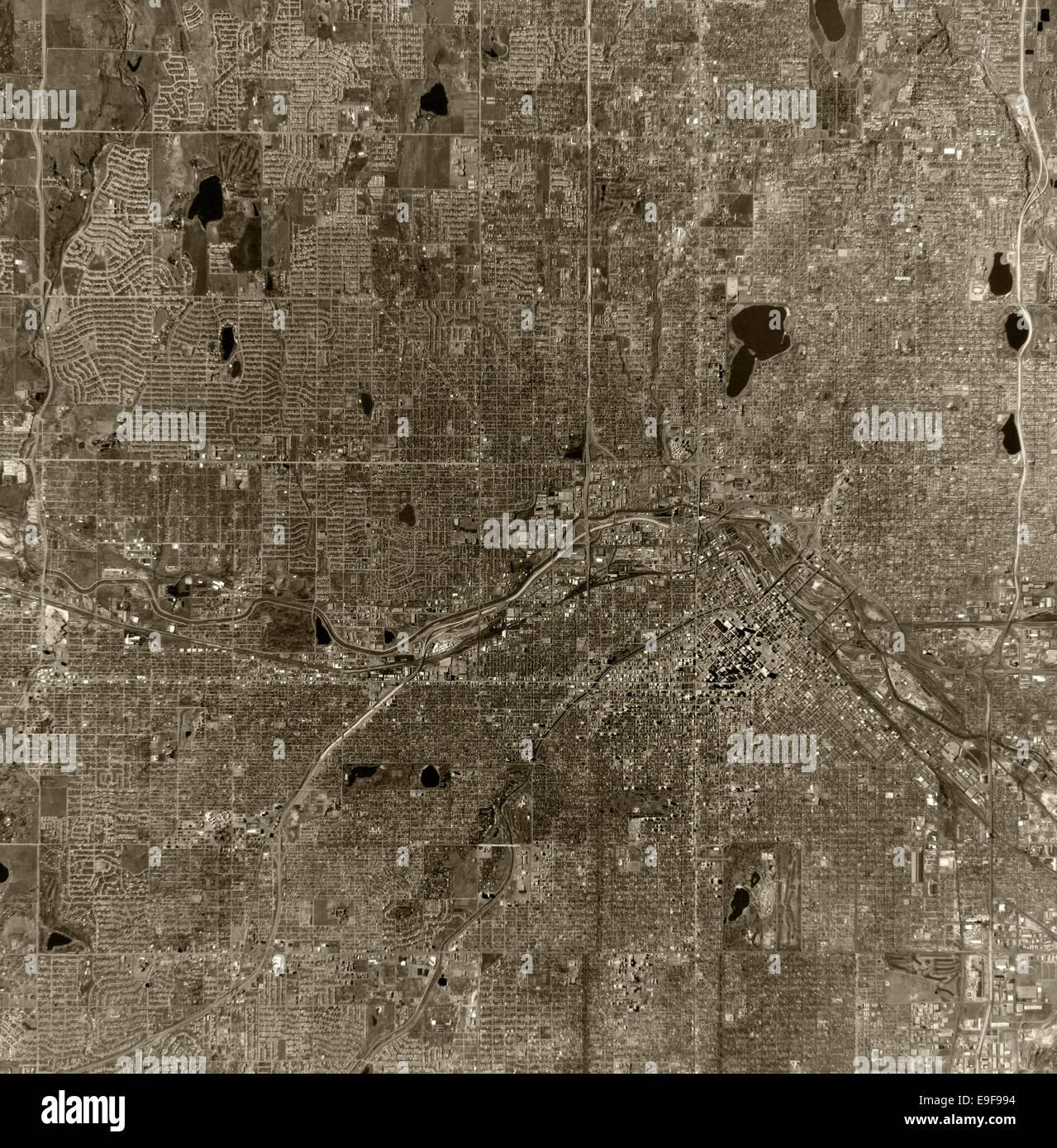 historical aerial photograph Denver, Colorado, 1970 - Stock Image