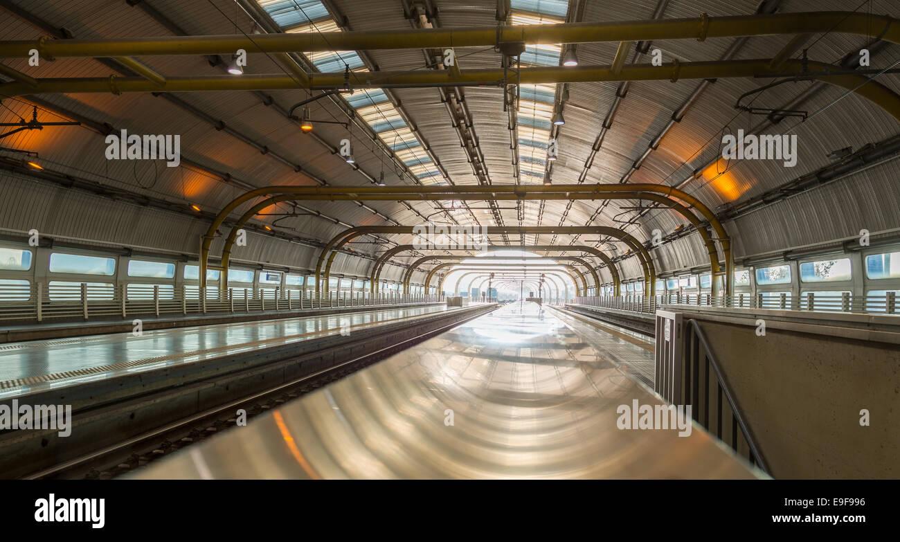 Rome Fiumicino Airport Railway station - Stock Image