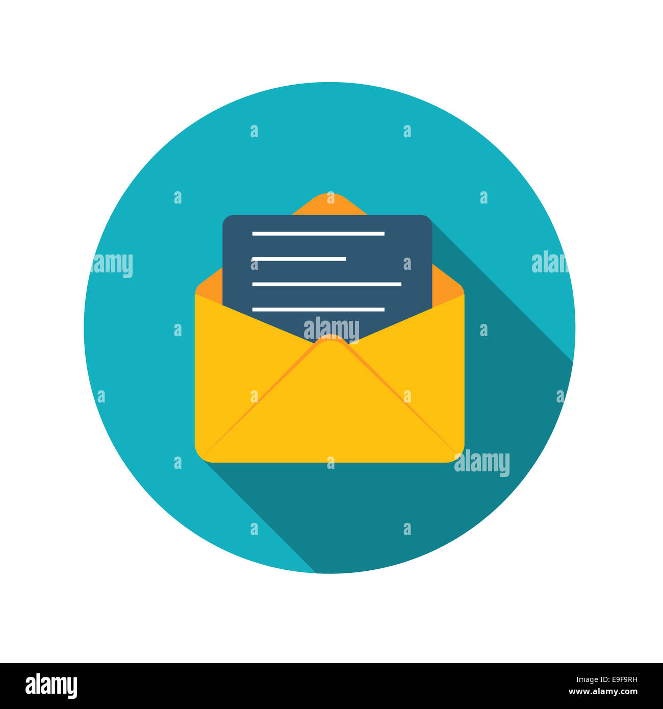 Flat Design Concept Email Send Icon Vector Illustration With Lon - Stock Image