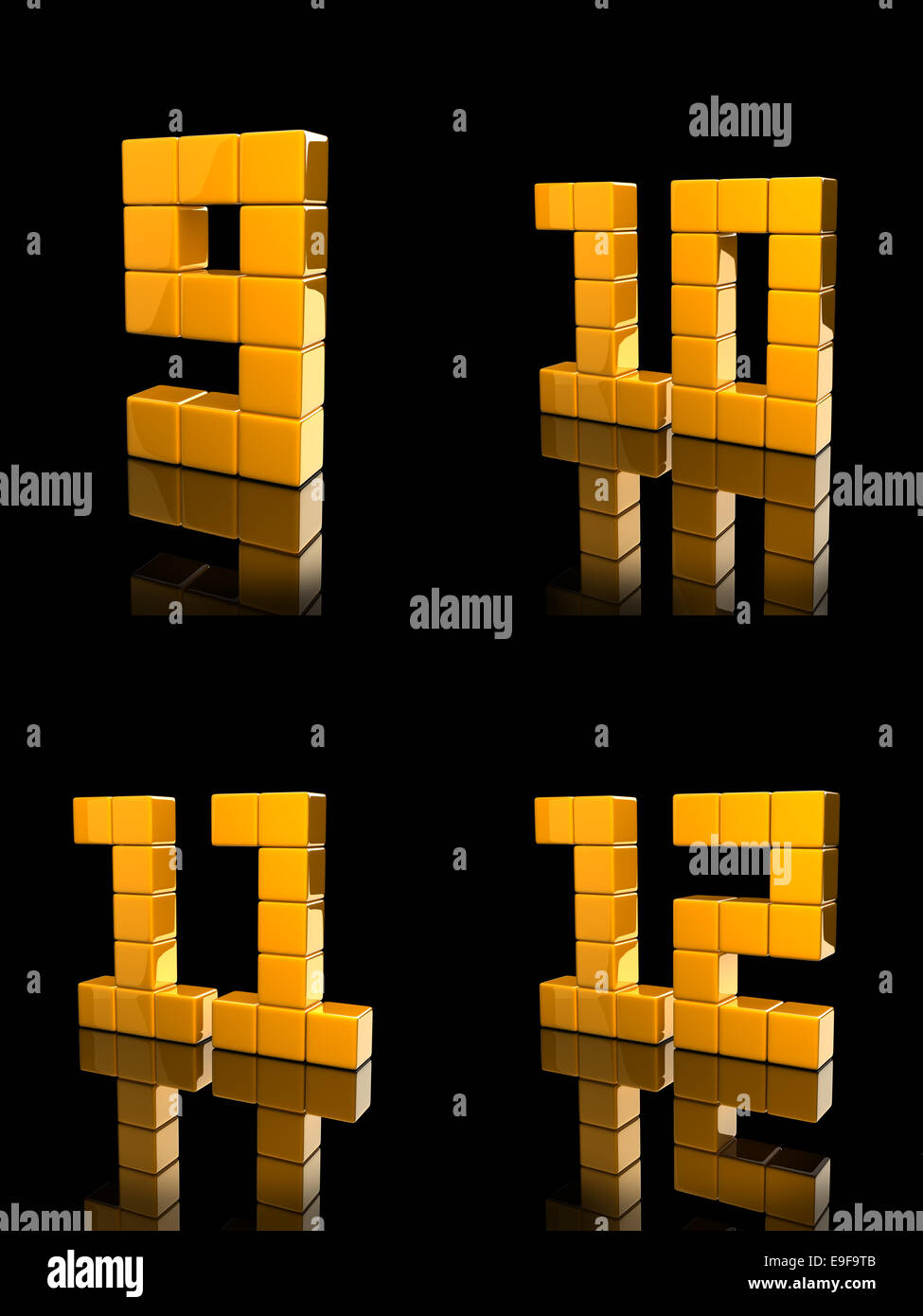 orange number composed by reflective cubes. Digitally Generated Image, - Stock Image