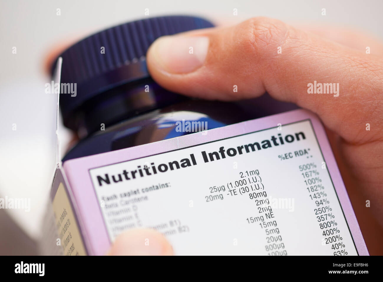 Human hand take out bottle with vitamin pills from the box with Nutritional information. - Stock Image