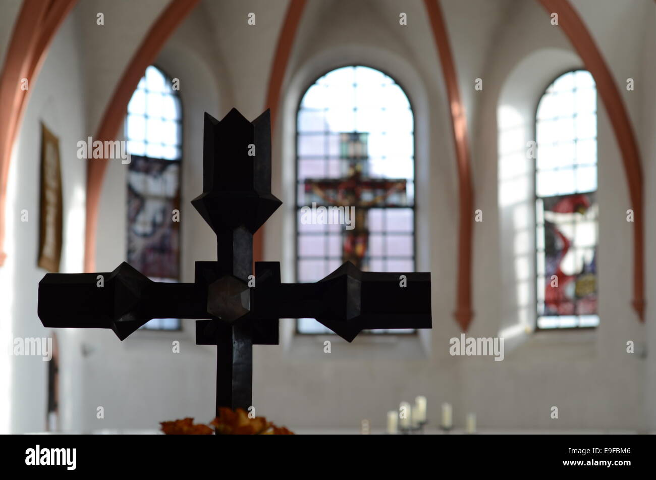 church with cross - Stock Image