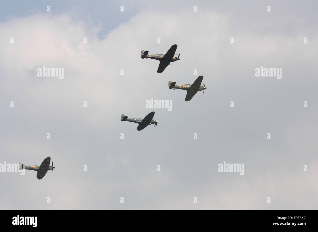 Hurricanes flying at Biggin Hill air show - Stock Image